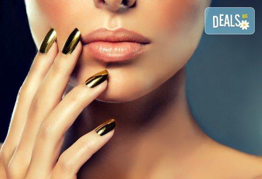 Поставяне на гел върху естествен нокът за укрепване на ноктите и маникюр с гел лак в студио за красота BEAUTY STAR до Mall of Sofia! - Снимка 3