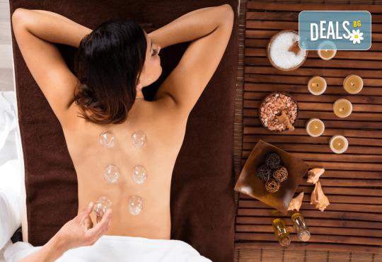 60-минутна лечебна терапия - ароматерапевтичен масаж цяло тяло и лечебен масаж с вендузи на гръб в салон Женско Царство! - Снимка 1
