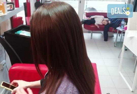 Био ботокс терапия с хиалурон, колаген и кератин за суха и увредена коса + прав сешоар и нанасяне на кристали в салон за красота Golden Angel, до НДК! - Снимка 7
