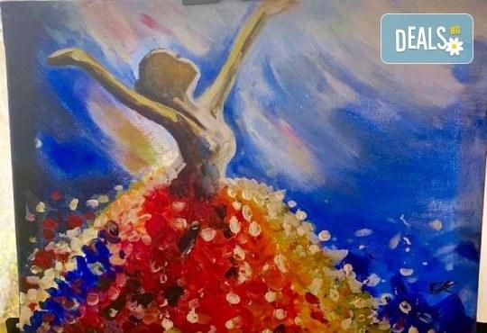 3 часа рисуване на тема Целувката на Густав Климт с напътствията на професионален художник + чаша вино, минерална вода и мини сандвичи в Арт ателие Багри и вино! - Снимка 3