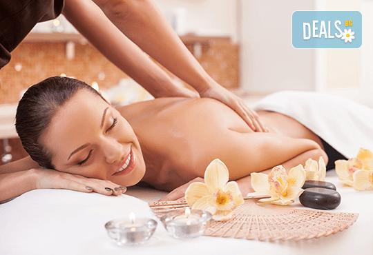 Дълбокозагряващ масаж на гръб и задна част на целите крака + фламбе масаж на гръб и стъпала в луксозния Senses Massage & Recreation! - Снимка 1