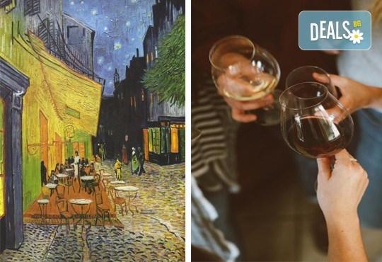 """3 часа рисуване на тема """"Кафе тераса през нощта"""" и чаша вино в Арт ателие Багри и вино"""