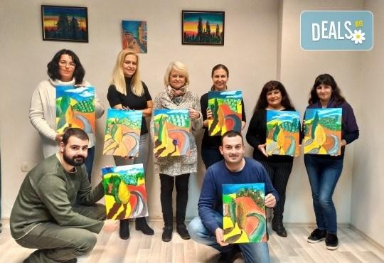 """""""Зимни фенери""""! 3 часа рисуване с вино на 15-ти декемви (неделя) - рисуване на картина с акварел + чаша вино под инструкциите на професионален художник в Пух арт студио - Снимка 4"""