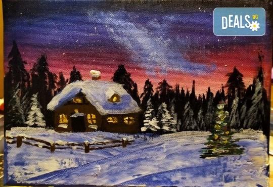 """""""Коледна нощ""""! 3 часа рисуване с вино на 20-ти декември (петък) от 19 часа - рисуване на картина с акварел + чаша вино под инструкциите на професионален художник в Пух арт студио - Снимка 1"""