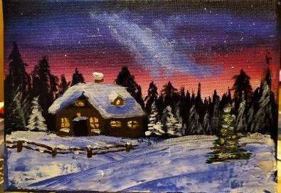 """""""Коледна нощ""""! 3 часа рисуване с вино на 20-ти декември (петък) от 19 часа - рисуване на картина с акварел + чаша вино под инструкциите на професионален художник в Пух арт студио - Снимка"""
