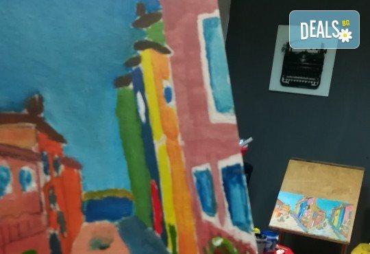 """""""Коледна нощ""""! 3 часа рисуване с вино на 20-ти декември (петък) от 19 часа - рисуване на картина с акварел + чаша вино под инструкциите на професионален художник в Пух арт студио - Снимка 11"""