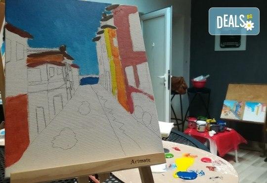 """""""Коледна нощ""""! 3 часа рисуване с вино на 20-ти декември (петък) от 19 часа - рисуване на картина с акварел + чаша вино под инструкциите на професионален художник в Пух арт студио - Снимка 7"""
