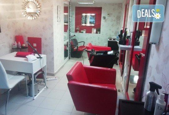 Боядисване с професионалните бои на Alfaparf Milano, подстригване на връхчетата, маска, кристали и прическа със сешоар в салон Golden Angel, до НДК! - Снимка 3