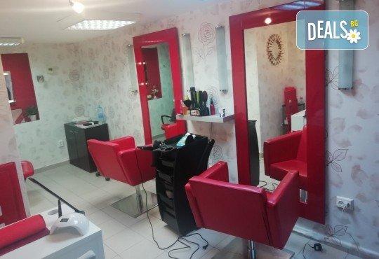 Боядисване с професионалните бои на Alfaparf Milano, подстригване на връхчетата, маска, кристали и прическа със сешоар в салон Golden Angel, до НДК! - Снимка 4