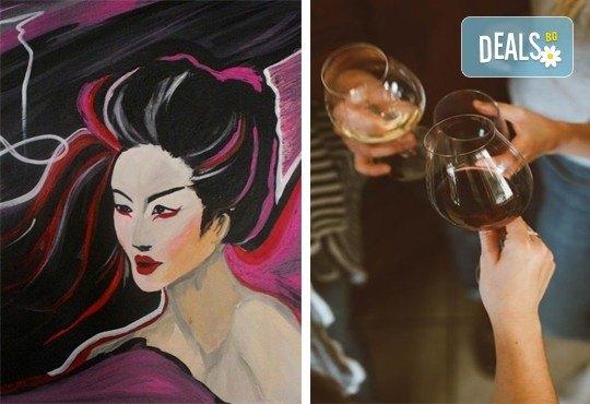 3 часа рисуване на тема Гейша на 31.01. с напътствията на професионален художник + чаша вино и минерална вода в Арт ателие Багри и вино! - Снимка 1