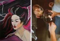 3 часа рисуване на тема Гейша на 31.01. с напътствията на професионален художник + чаша вино и минерална вода в Арт ателие Багри и вино! - Снимка