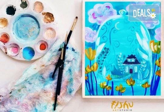 Рисуване на картина на тема Усещане за пролет с акрил на 14.01. с напътствия на професионален художник и чаша вино от Fishu.Art - Снимка 2