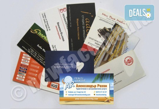 1000 пълноцветни двустранни лукс визитки! Висококачествен печат върху 340 г картон от New Face Media - Снимка 1