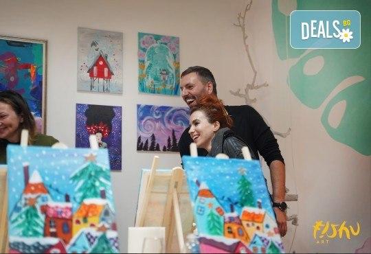 Рисуване на картина на тема Къща на дървото с акрил на 29.01. с напътствията на професионален художник и чаша вино от Fishu.Art - Снимка 8