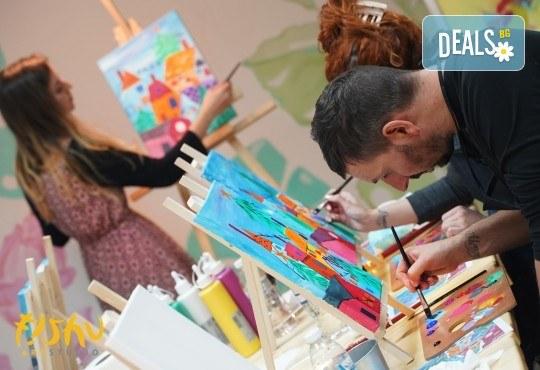 Рисуване на картина на тема Къща на дървото с акрил на 29.01. с напътствията на професионален художник и чаша вино от Fishu.Art - Снимка 7