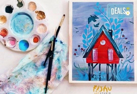 Рисуване на картина на тема Къща на дървото с акрил на 29.01. с напътствията на професионален художник и чаша вино от Fishu.Art - Снимка 2