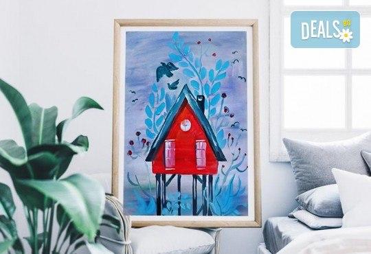 Рисуване на картина на тема Къща на дървото с акрил на 29.01. с напътствията на професионален художник и чаша вино от Fishu.Art - Снимка 1