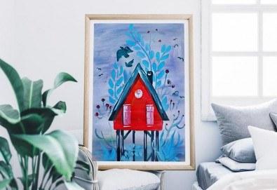 Рисуване на картина на тема Къща на дървото с акрил на 29.01. с напътствията на професионален художник и чаша вино от Fishu.Art - Снимка