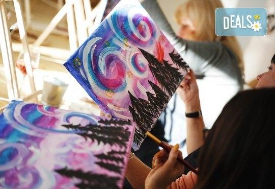 Рисуване на картина на тема Къща на дървото с акрил на 29.01. с напътствията на професионален художник и чаша вино от Fishu.Art - Снимка 3