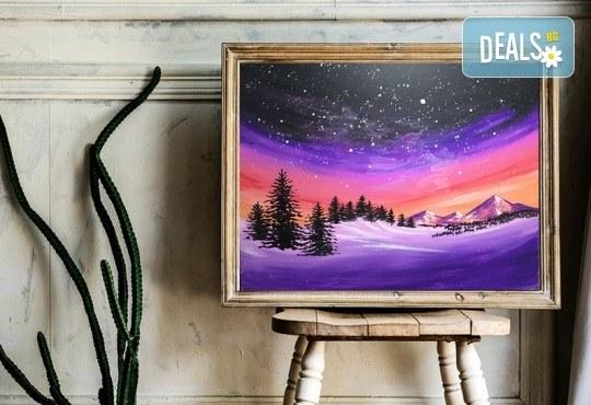 Рисуване на картина Звездно небе с акрил на 21.01. от 18.30ч. с напътствията на професионален художник и чаша вино от Fishu.Art - Снимка 1