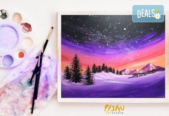 Рисуване на картина Звездно небе с акрил на 21.01. от 18.30ч. с напътствията на професионален художник и чаша вино от Fishu.Art - Снимка 2