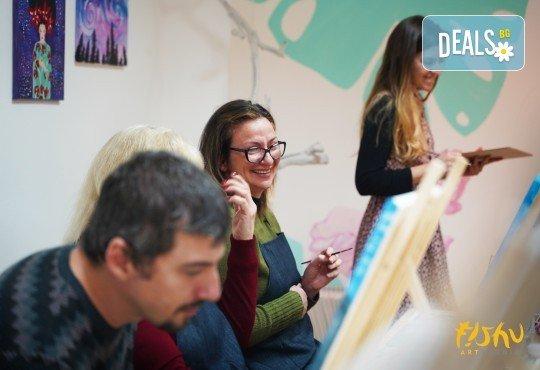 Рисуване на картина Приключения с акрил на 22.01. от 18.30ч. с напътствията на професионален художник и чаша вино от Fishu.Art - Снимка 16