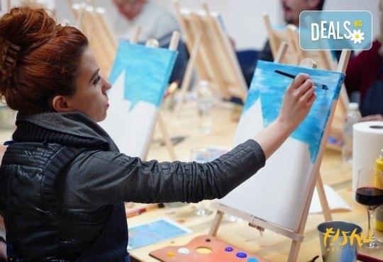 Рисуване на картина Романтика с акрил на 28.01. от 18.30ч. с напътствията на професионален художник и чаша вино от Fishu.Art - Снимка 15