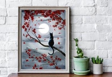 Рисуване на картина Романтика с акрил на 28.01. от 18.30ч. с напътствията на професионален художник и чаша вино от Fishu.Art - Снимка
