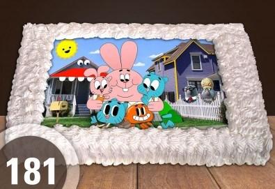 За най-малките! Голяма торта със снимка 20, 25 или 30 парчета за празника на Вашето дете с герой от филмче от Сладкарница Джорджо Джани