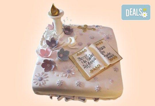 Торта за Кръщене с кръстче, Библия, свещ и надпис от Сладкарница Джорджо Джани