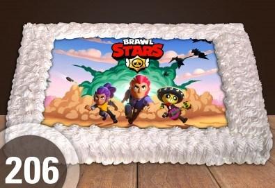 С доставка през април, май и юни! Експресна торта от днес за днес: голяма детска торта 20, 25 или 30 парчета със снимка на любим герой от Сладкарница Джорджо Джани - Снимка
