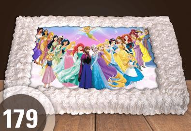 Експресна торта от днес за днес! Голяма детска торта 20, 25 или 30 парчета със снимка на любим герой от Сладкарница Джорджо Джани - Снимка