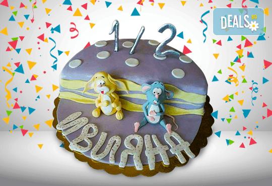 С доставка през март и април! Торта за бебе: детска фигурална торта 1/2 за бебоци на шест месеца от Сладкарница Джорджо Джани - Снимка 4