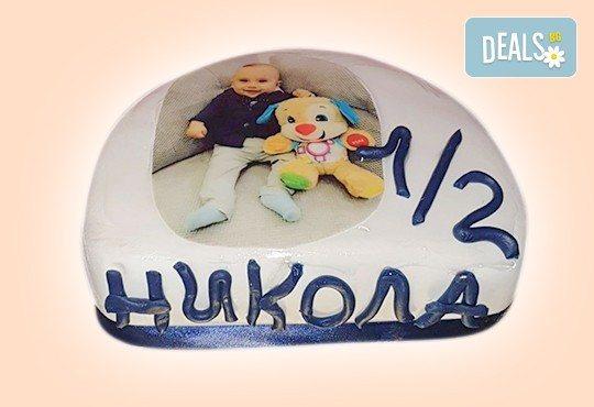 С доставка през март и април! Торта за бебе: детска фигурална торта 1/2 за бебоци на шест месеца от Сладкарница Джорджо Джани - Снимка 6
