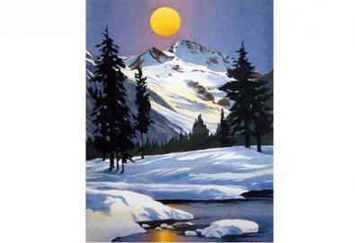 3 часа рисуване на Зимна приказка на 31.01. от 19ч. + чаша вино в Пух арт студио - Снимка