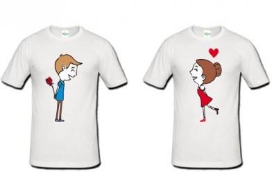 Романтично и забавно! 2 броя тениски за двойки със снимка или щампа по Ваш избор от Хартиен свят! - Снимка