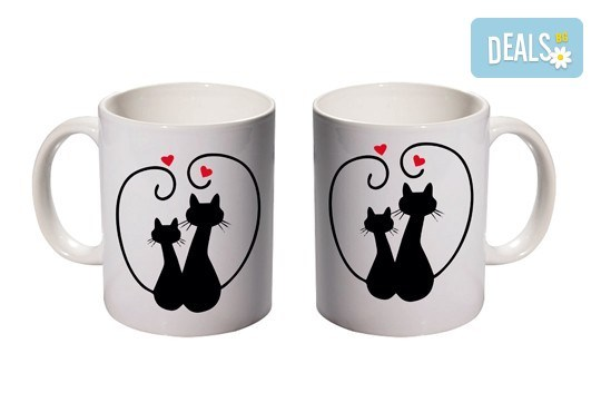Романтичен подарък за Деня на влюбените! 2 броя чаши за двойки с дизайн по избор от Хартиен свят - Снимка 4