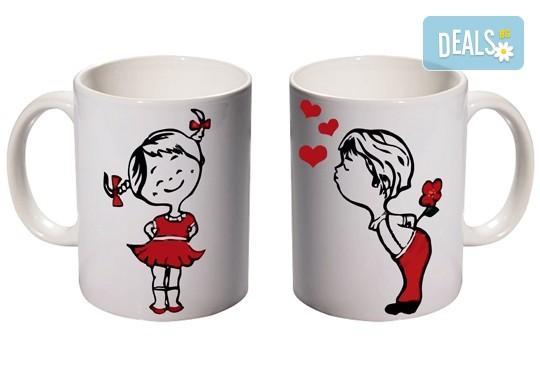 Романтичен подарък за Деня на влюбените! 2 броя чаши за двойки с дизайн по избор от Хартиен свят - Снимка 1