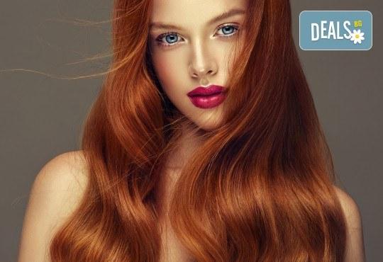 Боядисване с професионална италианска боя, кератинова или арганова терапия, подстригване на връхчета и прическа със сешоар в салон Atelier Des Fleurs - Снимка 3