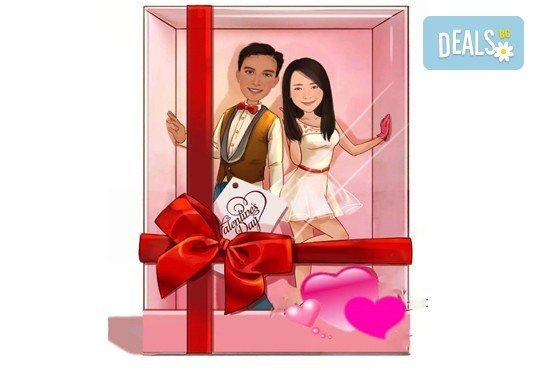 Подарете с любов за Свети Валентин или 8-ми март! Изработка на карикатура с готов дизайн, с рамка и подарък: картичка от Хартиен свят - Снимка 1