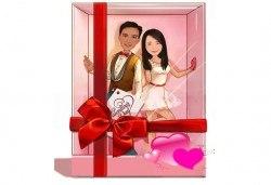 Подарете с любов за Свети Валентин или 8-ми март! Изработка на карикатура с готов дизайн, с рамка и подарък: картичка от Хартиен свят - Снимка