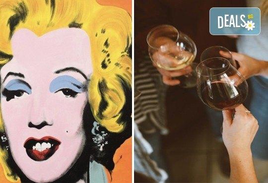 3 часа рисуване на тема Мерилин Монро, вдъхновени от Анди Уорхол, с напътствията на професионален художник + чаша вино и минерална вода в Арт ателие Багри и вино! - Снимка 1