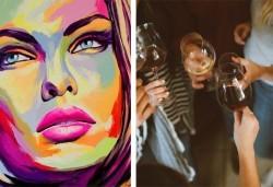 3 часа рисуване на тема Красота, с напътствията на професионален художник + чаша вино и минерална вода в Арт ателие Багри и вино - Снимка