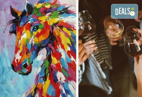 3 часа рисуване на тема Вихър, с напътствията на професионален художник + чаша вино и минерална вода в Арт ателие Багри и вино - Снимка 1