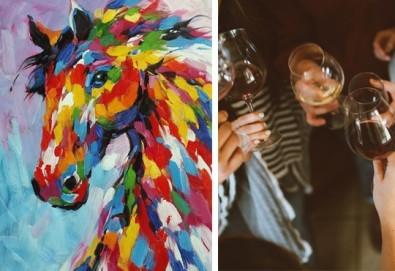 3 часа рисуване на тема Вихър, с напътствията на професионален художник + чаша вино и минерална вода в Арт ателие Багри и вино - Снимка
