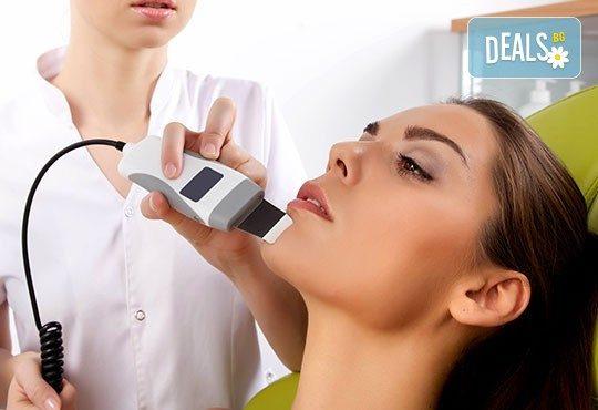Ултразвуково почистване на лице, шия, деколте или гръб чрез нанотехнология за дълбока дезинфекция и видимо въздействие върху всеки тип кожа, в центрове Енигма! - Снимка 3