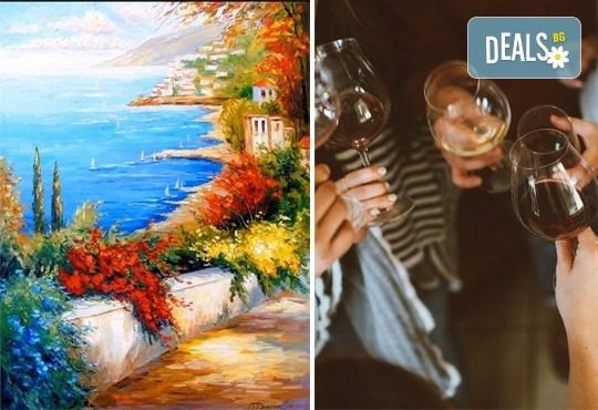 3 часа рисуване на тема Синева, с напътствията на професионален художник + чаша вино и минерална вода в Арт ателие Багри и вино - Снимка 1