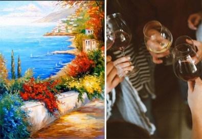 3 часа рисуване на тема Синева, с напътствията на професионален художник + чаша вино и минерална вода в Арт ателие Багри и вино - Снимка