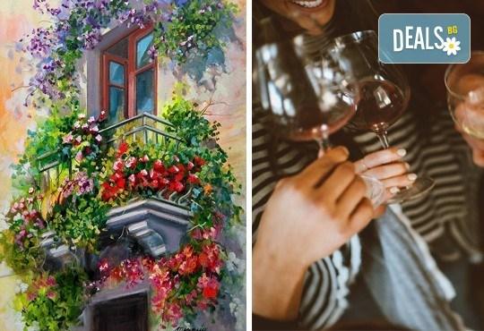 3 часа рисуване на тема Романтика, с напътствията на професионален художник + чаша вино и минерална вода в Арт ателие Багри и вино - Снимка 1