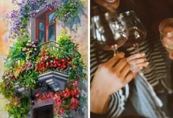 3 часа рисуване на тема Романтика, с напътствията на професионален художник + чаша вино и минерална вода в Арт ателие Багри и вино - Снимка